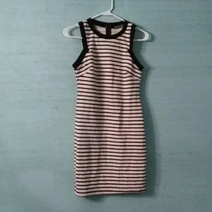 Black and white striped sheath dress